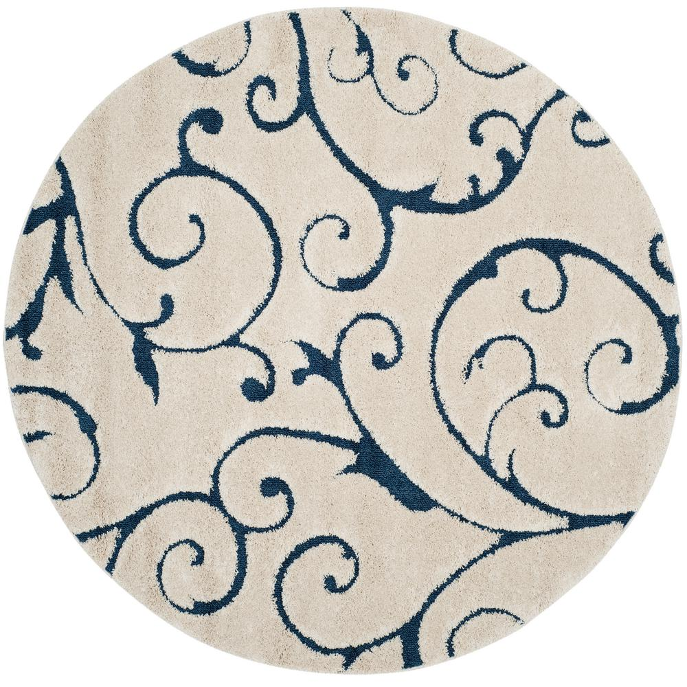 Safavieh Florida Shag Cream/Blue 7 ft. x 7 ft. Round Area Rug