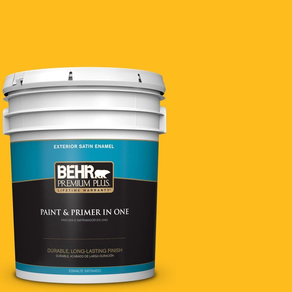 5-gal. #P290-7 Laser Lemon Satin Enamel Exterior Paint