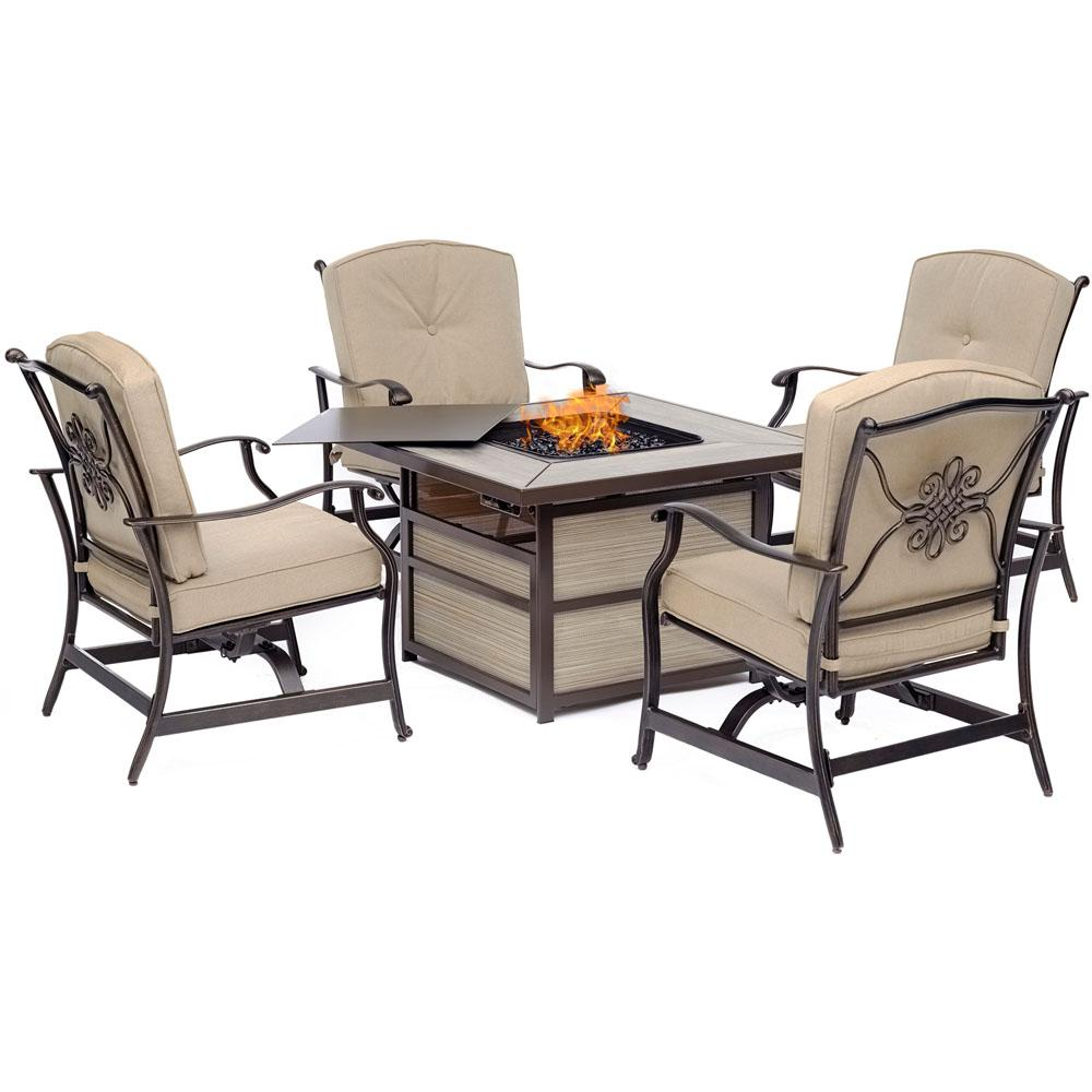 Hanover Traditions 5-Piece Aluminum Patio Fire Pit Conversation Set with Natural Oat Cushions