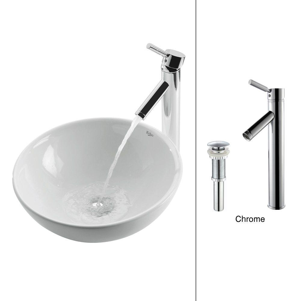KRAUS Soft Round Ceramic Vessel Sink in White with Sheven Faucet in Chrome