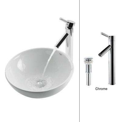 Soft Round Ceramic Vessel Sink in White with Sheven Faucet in Chrome