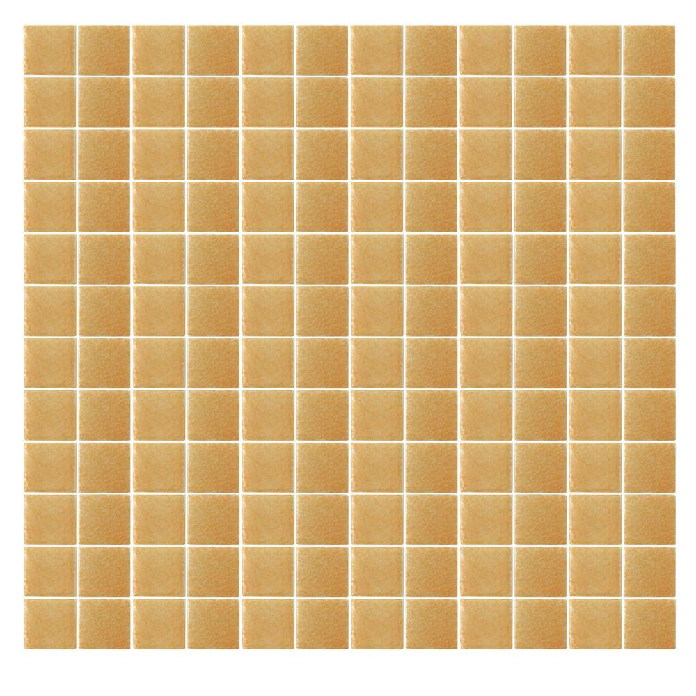 Spongez S-Light Brown-1409 Mosiac Recycled Glass Mesh Mounted Floor and Wall