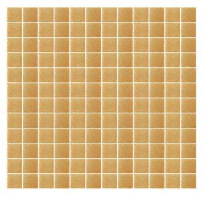 Spongez S-Light Brown-1409 Mosiac Recycled Glass Mesh Mounted Floor and Wall Tile -3 in. x 3 in. Tile Sample