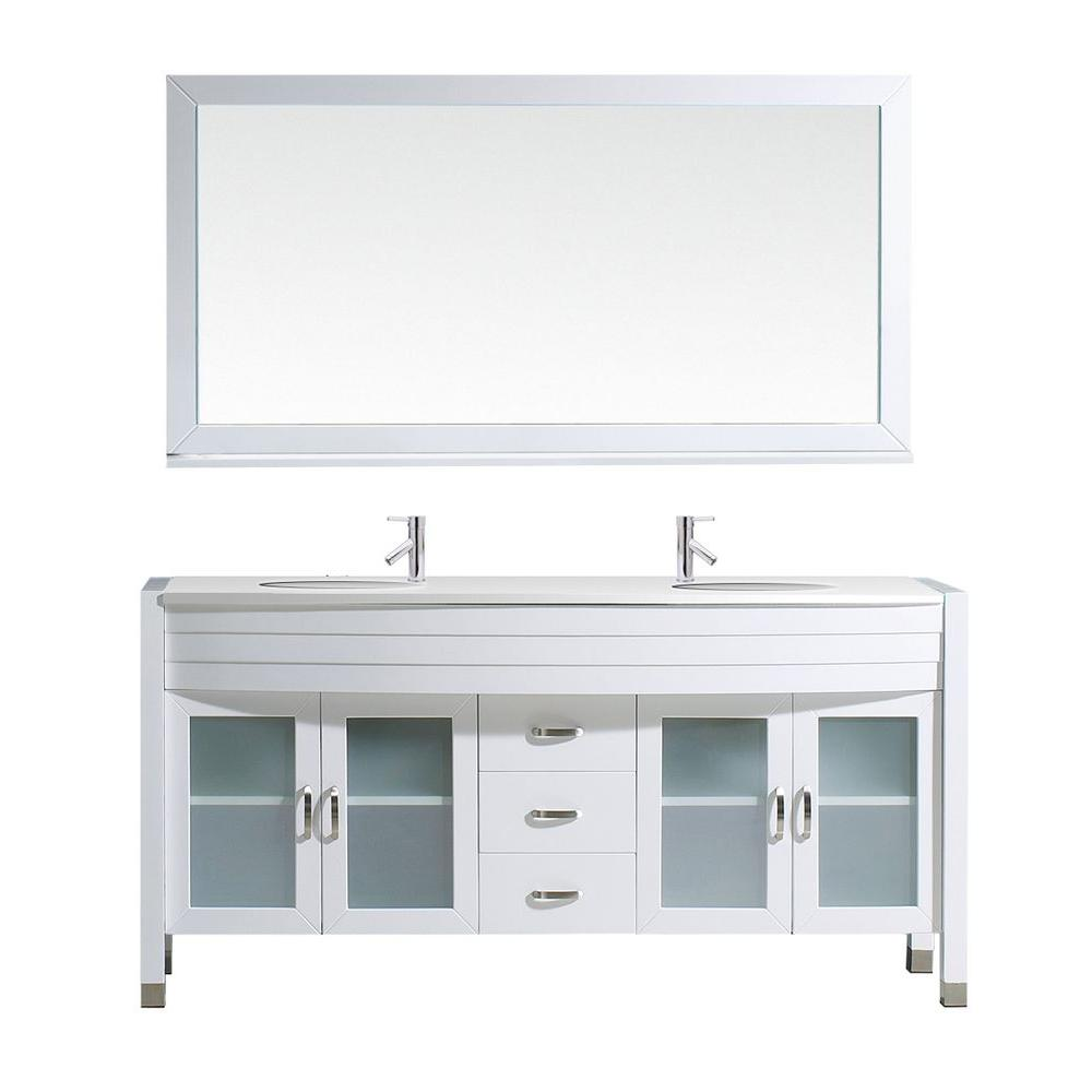 Virtu USA Ava 62.6 in. W x 22 in. D Vanity in White with Stone Vanity Top in White with White Round Basin and Mirror