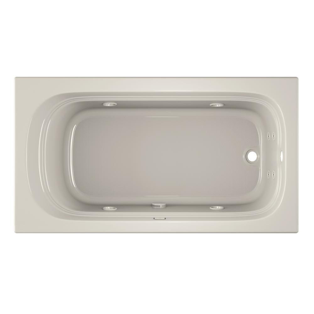 LUXURA 66 in. Acrylic Rectangular Drop-in Whirlpool Bathtub in Oyster