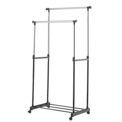 Chrome and black  Steel Double Clothes Rack (55 in. W x 62 in. H)