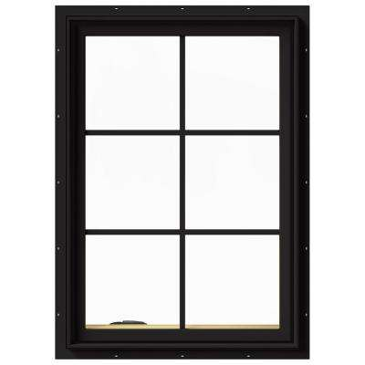 28 In X 40 In W 2500 Series Black Painted Clad Wood Left Handed Casement Window With Colonial Gridsgrilles