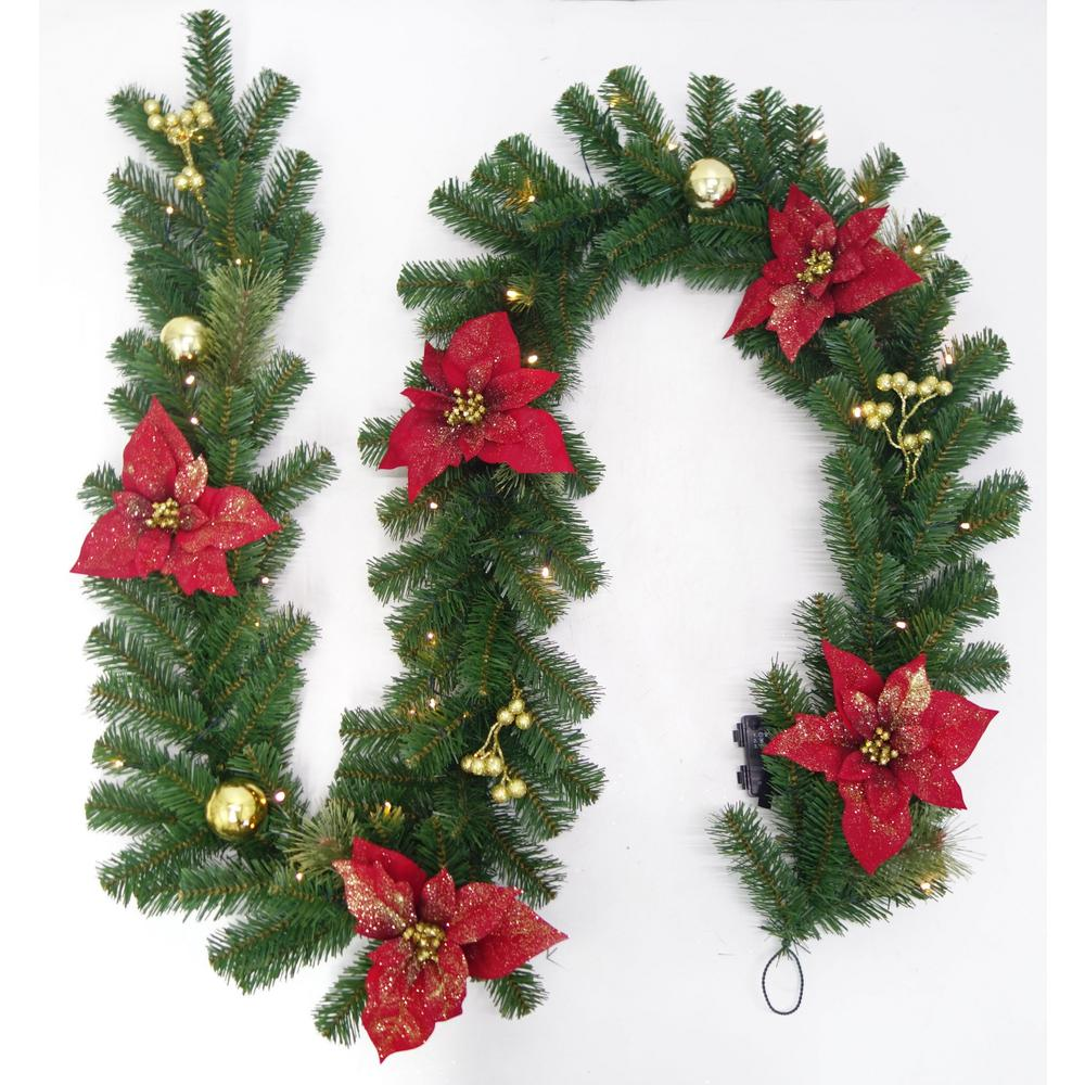 pre lit led glittered poinsettia artificial christmas garland with