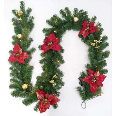 9 ft. Pre-Lit LED Glittered Poinsettia Artificial Christmas Garland with 35-Lights