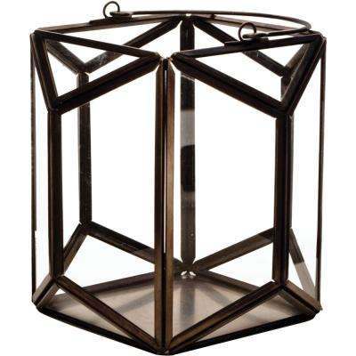 Mika 6.25 in. W x 6 in. H Black Faceted Glass Prism Lantern Terrarium