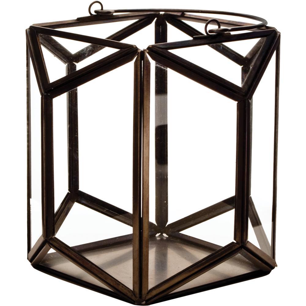 Mika 6.25 in. W x 6 in. H Black Faceted Glass Prism Lantern Terrarium
