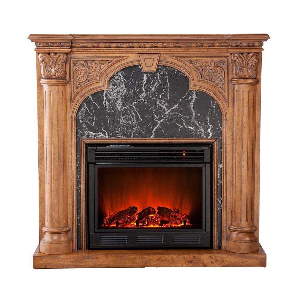 Southern Enterprises Savino 42 in. Electric Fireplace in Old World Oak-DISCONTINUED