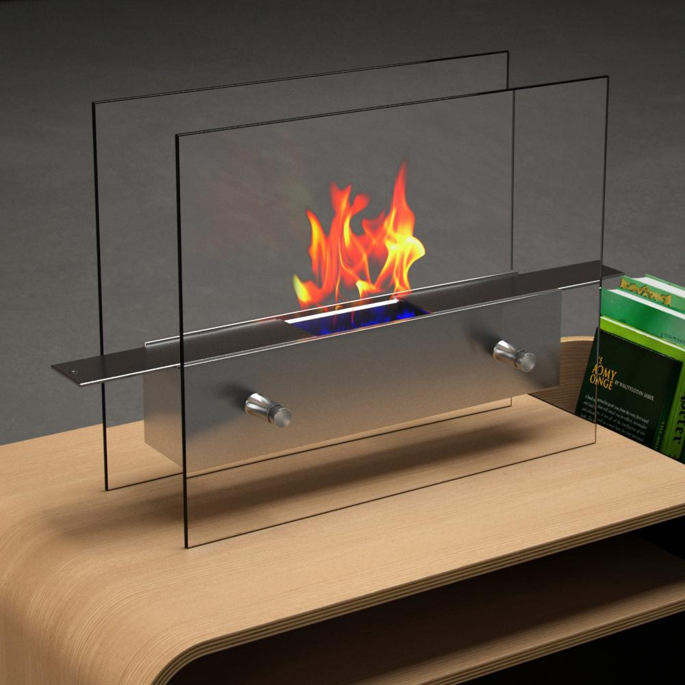 Moda Flame Ibiza 14 In Vent Free Ethanol Fireplace In Stainless Steel Gf202200 The Home Depot