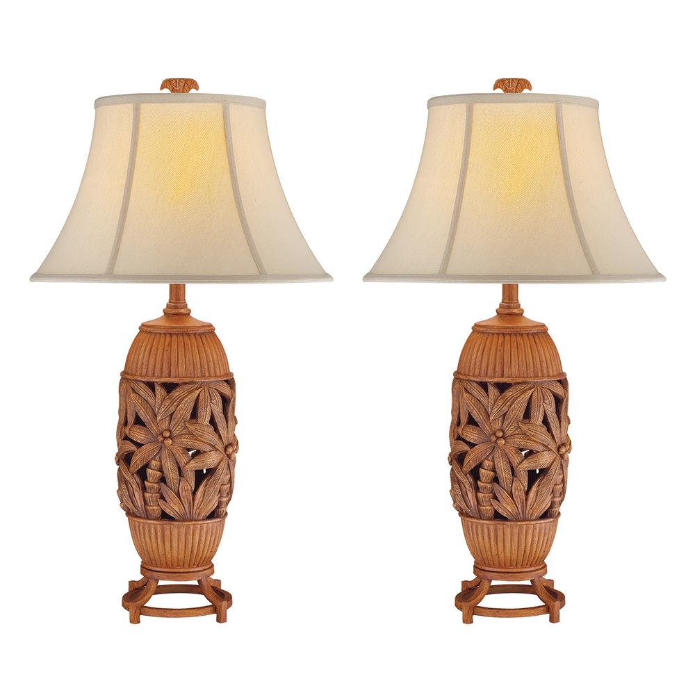 32 in. Antique Brown Indoor Table Lamp Set