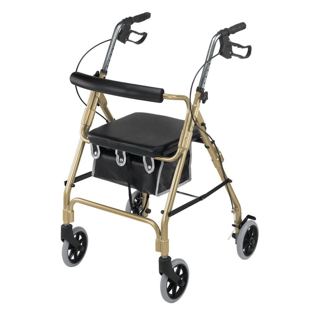 DMI Ultra Lightweight Rollator in Aluminum Ultra Lightweight Aluminum Rollator has an adjustable handle height. This rollator has a flip-up cushion seat. The rollator conveniently folds for transportation. Rollator has a removable pouch for storage.
