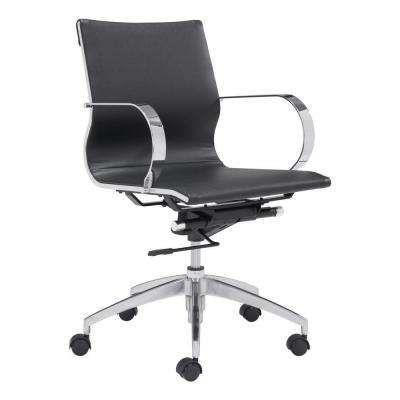 Glider Black Leatherette Low Back Office Chair