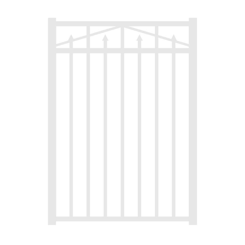 Allure Aluminum Provincial 3 ft. W x 4.5 ft. H Aluminum White 3-Rail Fence Walk Gate-DISCONTINUED