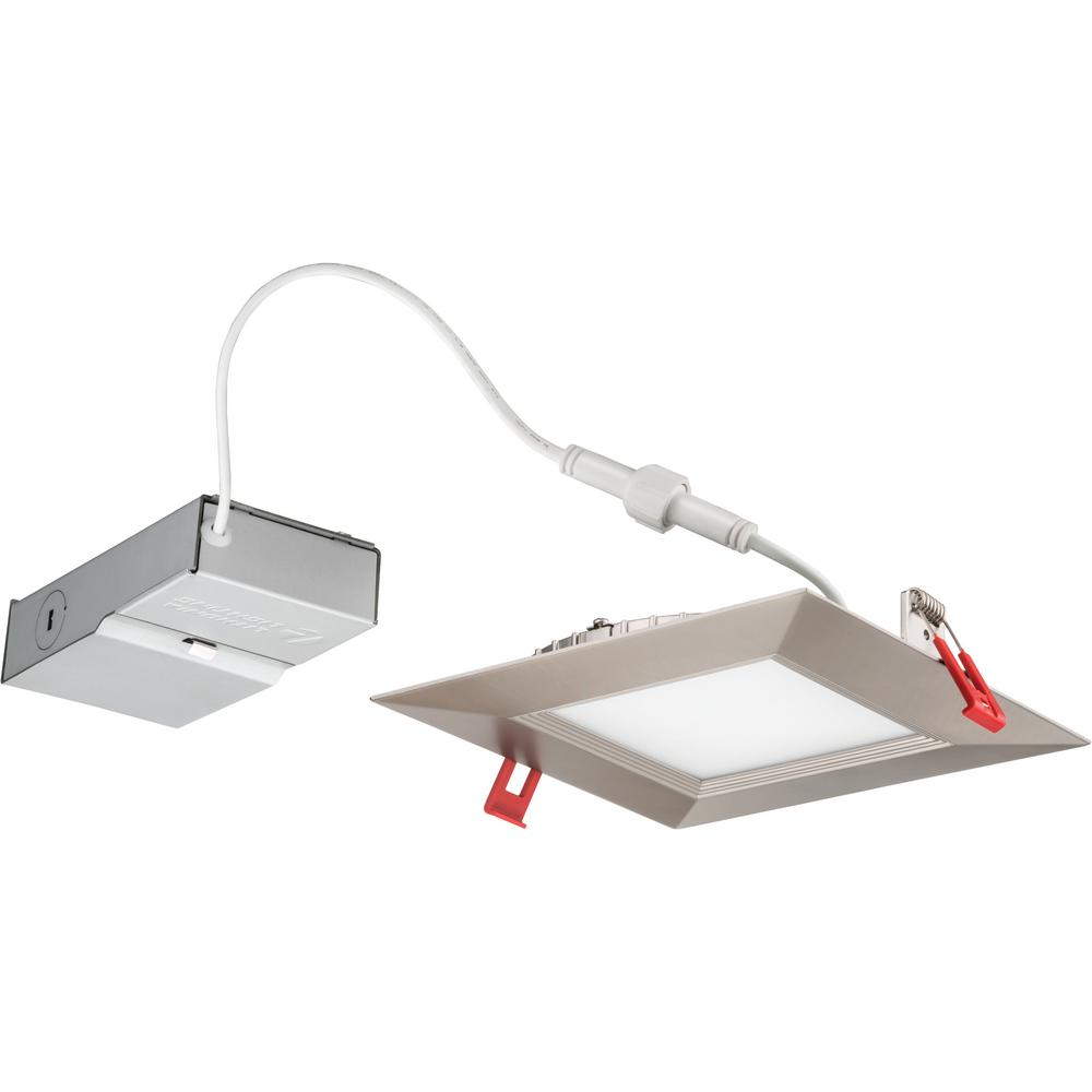 Lithonia Lighting Wafer Square 6 In Brushed Nickel