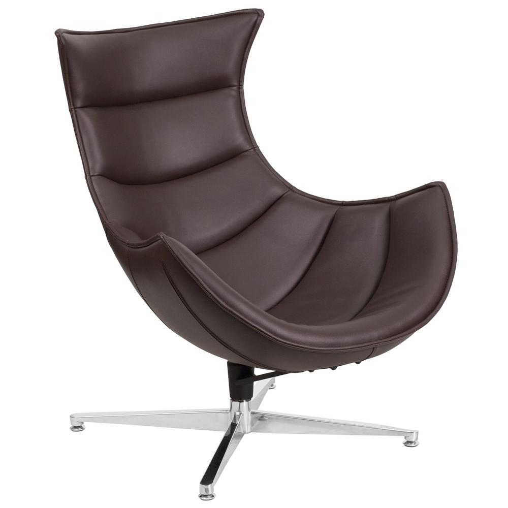 Flash Furniture Brown Leather Swivel Cocoon Chair Zb33 The Home Depot