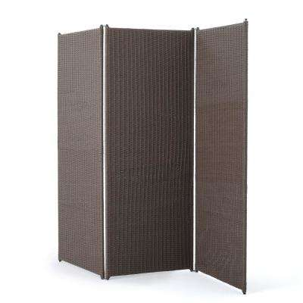 Chestnut Brown Polyethylene Wicker 3-Panel Room Divider with Iron Frame