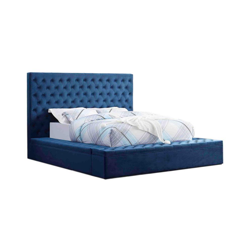 Best Master Furniture Jonathan Velvet Blue Tufted Bed Storage 12180
