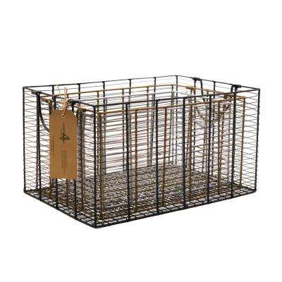 15.75 in. W x 11 in. D x 8.75 in. H Modern Multi Color Metal Nested Baskets (Set of 3)