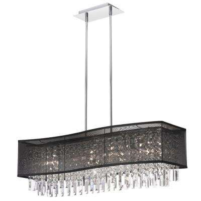 Catherine 6 Light Halogen Polished Chrome Chandelier with Black Organza Shades