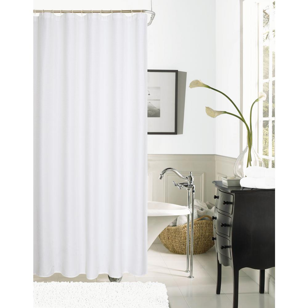 Hotel Collection Waffle 72 in. White Shower Curtain-HCOWSCWH - The ...