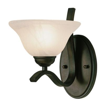 Cabernet Collection 1-Light Oiled Bronze Bath Bar Light with Tea Stained Marbleized Shade