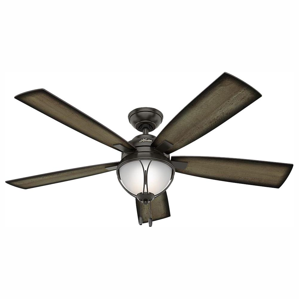 Hunter Sun Vista 54 in. LED Indoor/Outdoor Noble Bronze Ceiling Fan with Light Kit