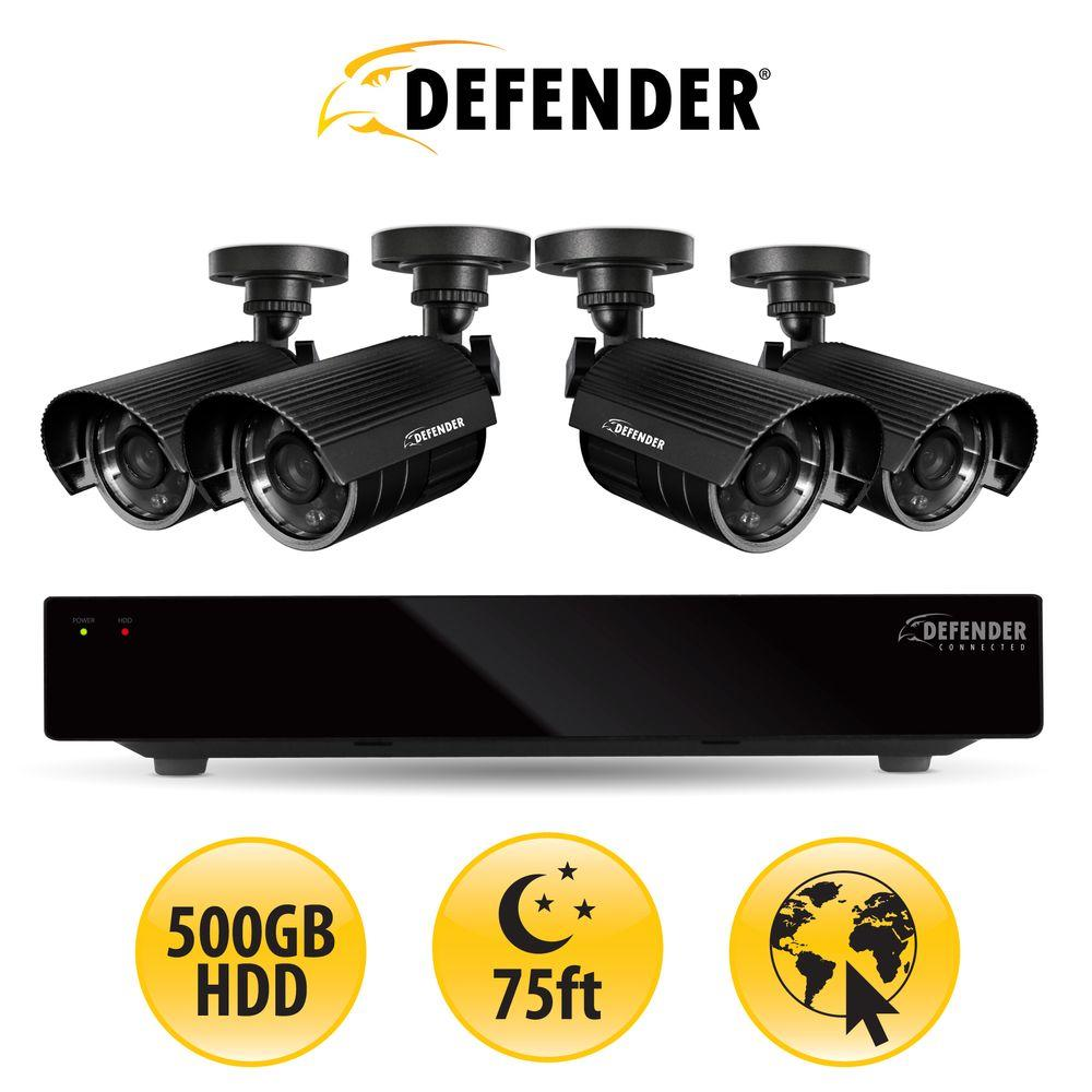 Defender 8-Channel 500GB HDD Surveillance System with (4) 480 TVL Cameras and 75 ft. of Night Vision-DISCONTINUED