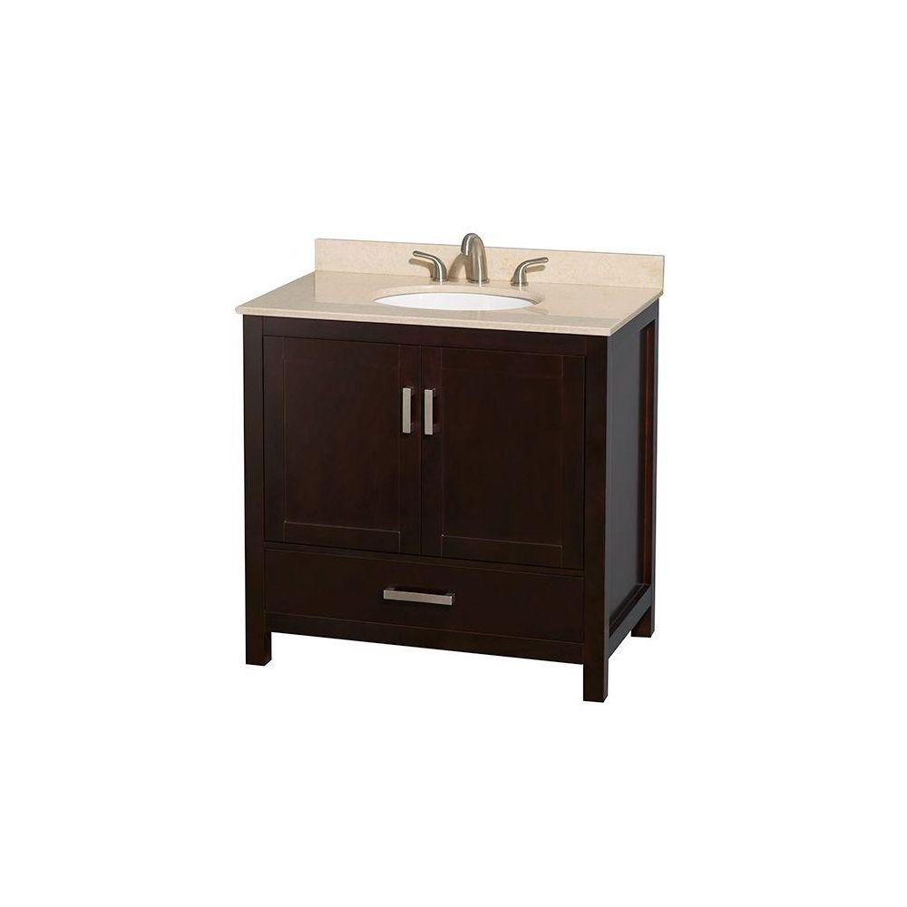 Wyndham Collection Sheffield 36 in. Vanity in Espresso with Marble Vanity Top in Ivory