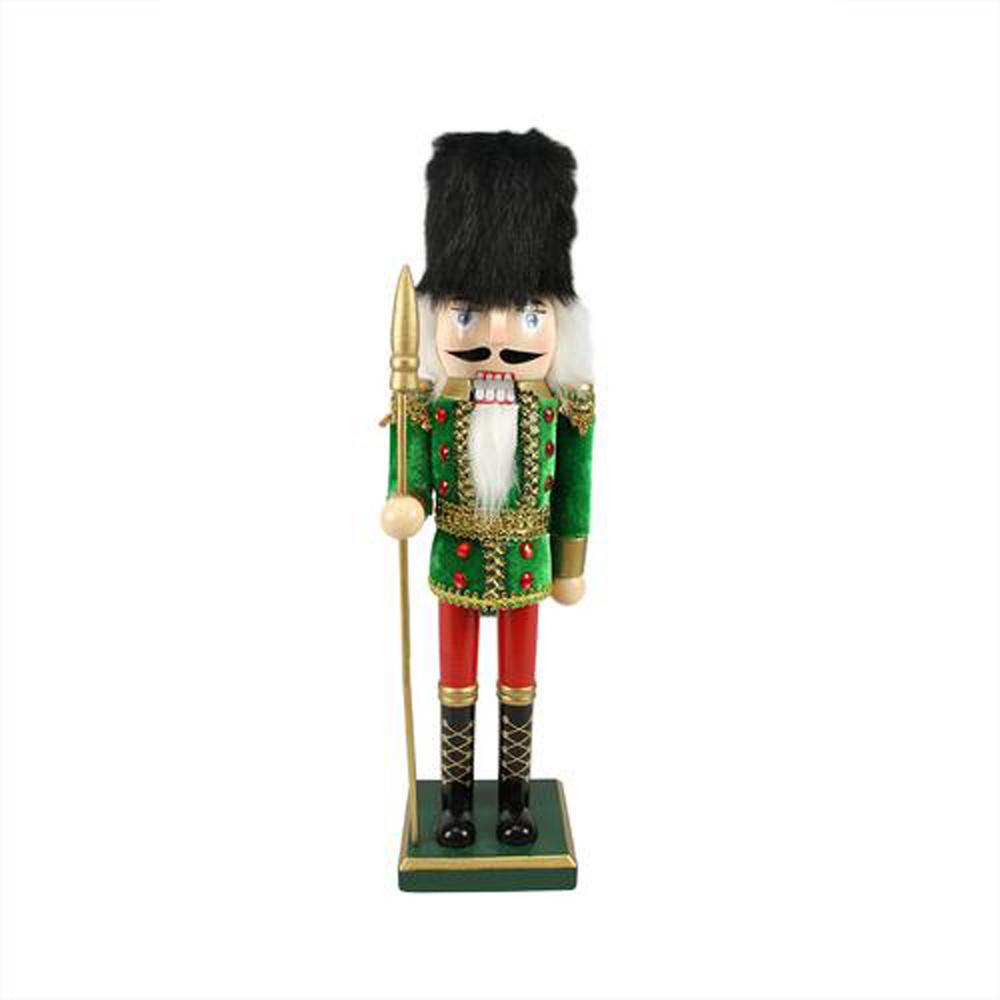 14 in. Decorative Wooden Green Red and Gold Christmas Nutcracker Soldier