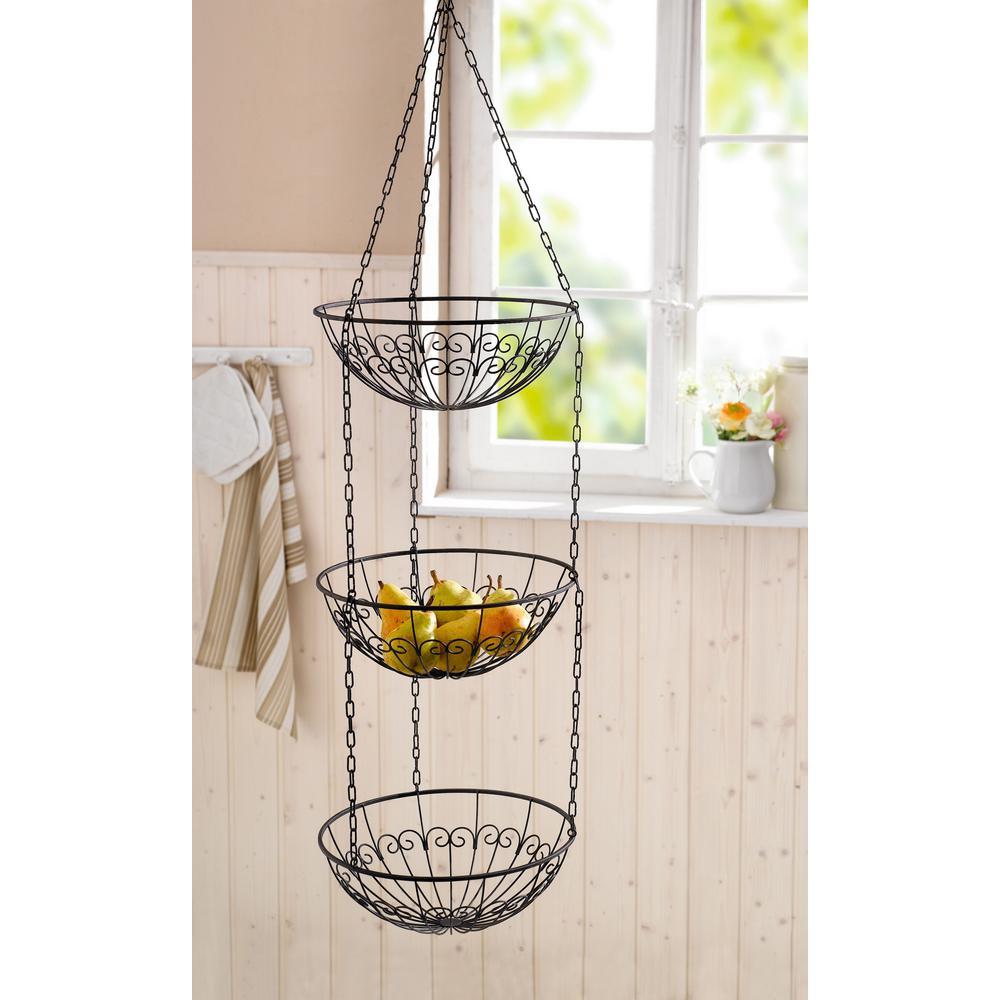 3-Tier Metal Wire Hanging Fruit Bowl Basket