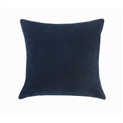 Wisdom Navy Blue Solid Soft Poly-Fill 20 in. x 20 in. Throw Pillow