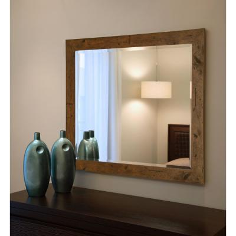 31.5 in. x 27.5 in. Rustic Light Walnut Beveled Vanity Wall Mirror