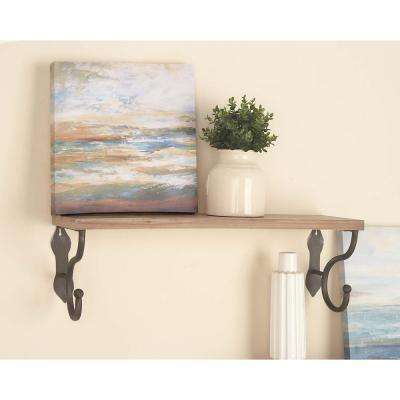 32 in. x 10 in. Brown and Black Wood Metal Wall Shelf