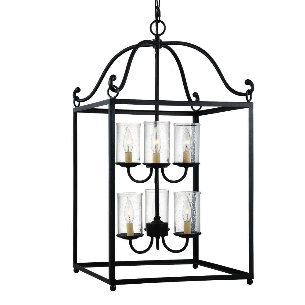 Declaration 6-Light Antique Forged Iron Single Tier Chandelier Shade