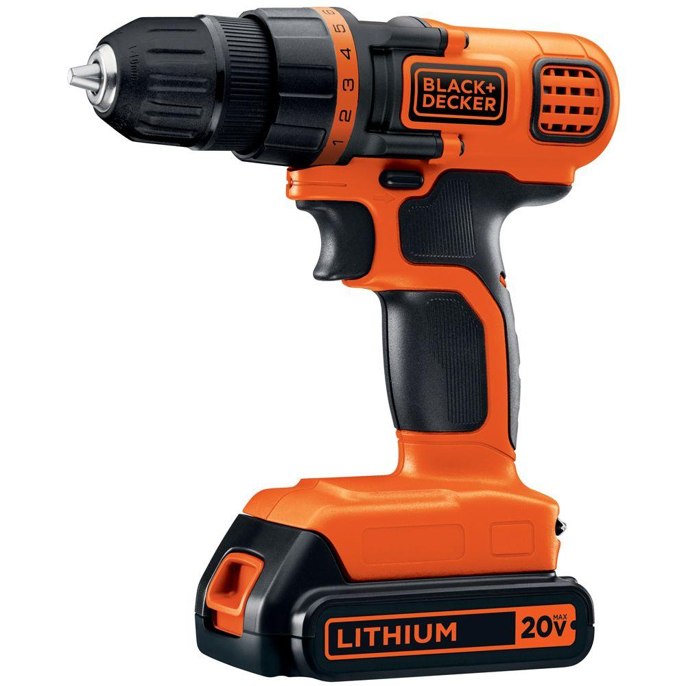 BLACK+DECKER 20-Volt MAX Lithium-Ion Cordless 3/8 in. Drill/Driver with Battery 1.5Ah and Charger