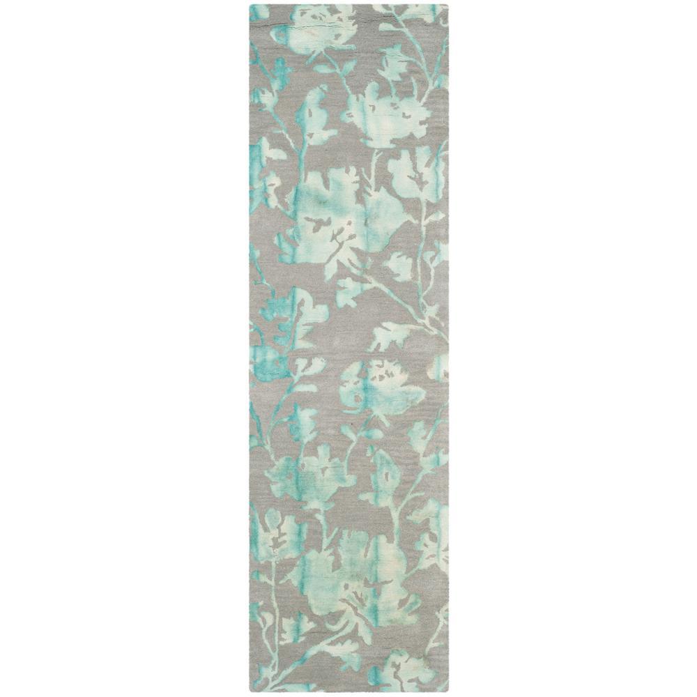 Safavieh Dip Dye Gray Turquoise 2 Ft 3 In X 6 Ft Runner