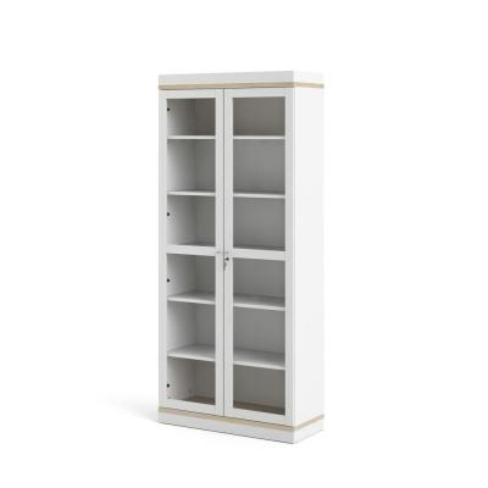 Aberdeen White/Oak Structure 2-Door China Cabinet