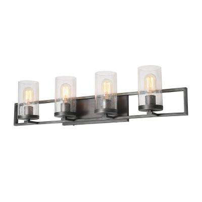 4-Light Gray Transitional Bathroom Wall Sconces Vanity Bath Light