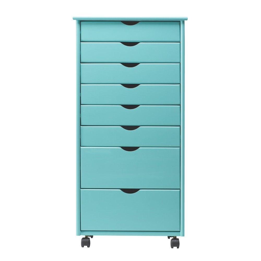 Home Decorators Collection Stanton Wide 8 Drawer Storage Cart In Blue 0200910310 The Home Depot