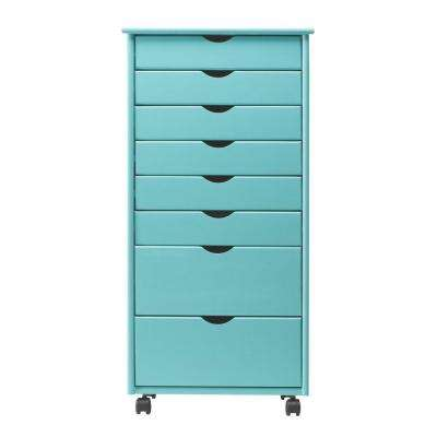 Stanton Wide 8-Drawer Storage Cart in Blue