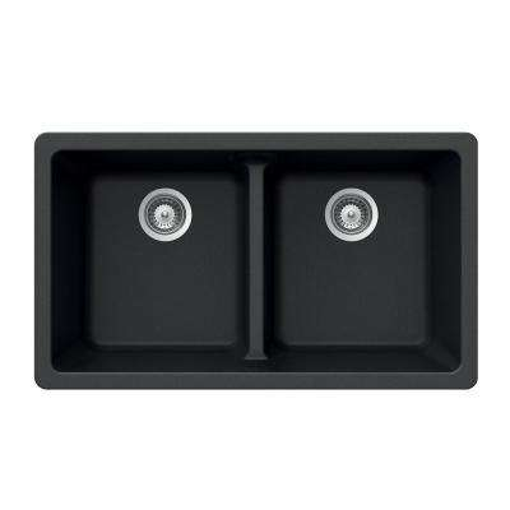 Quartztone Undermount Composite Granite 33 in. Double Bowl Kitchen Sink in Midnite