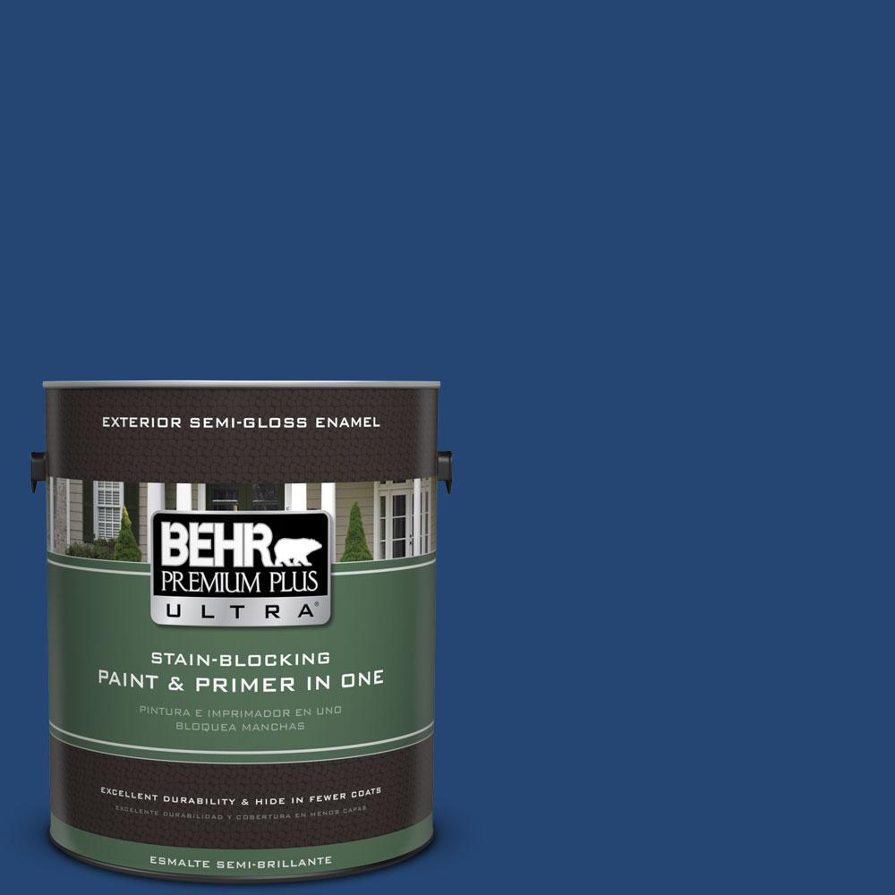 BEHR Premium Plus Ultra 1-gal. #S-H-580 Navy Blue Semi-Gloss Enamel Exterior Paint