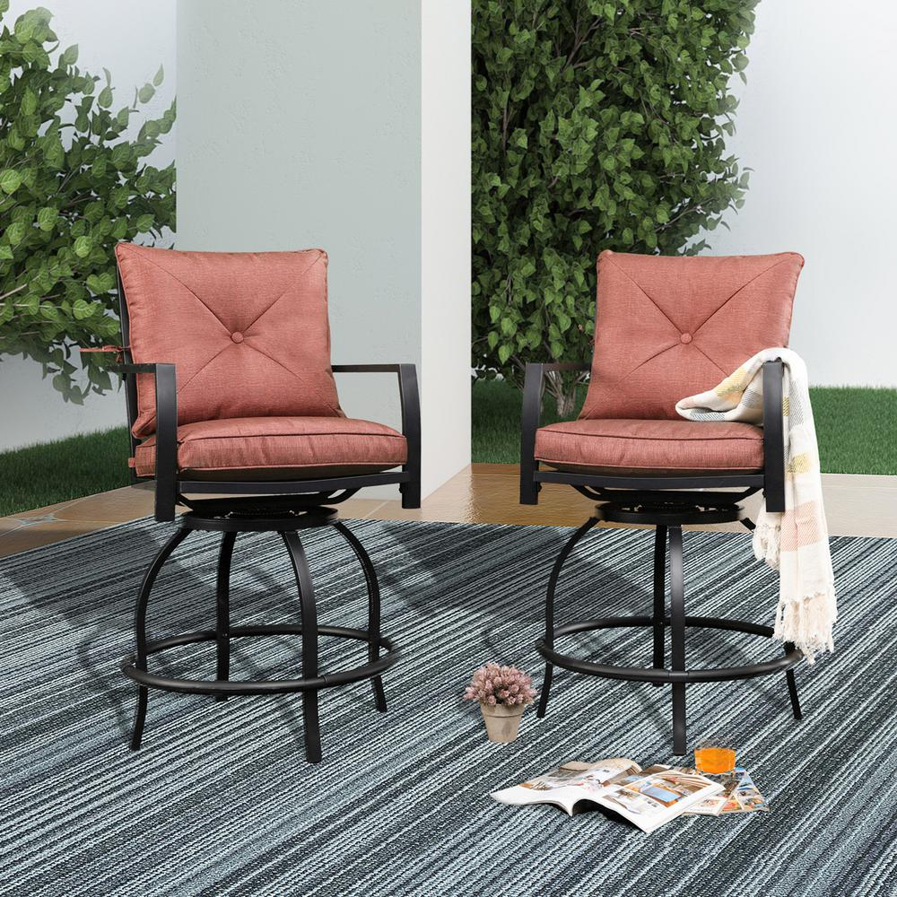 Patio Festival Swivel Metal Outdoor Bar Stool with Red ...