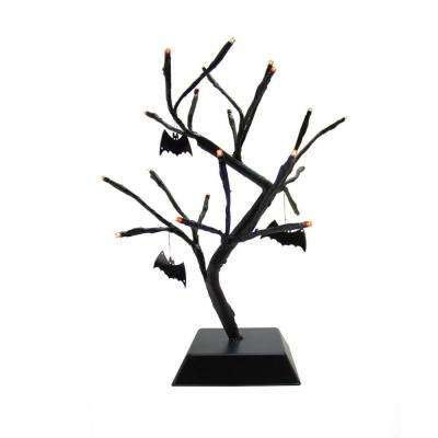 15 in. Pre-Lit Battery Operated Black Spooky Halloween Table Top Tree with Bats
