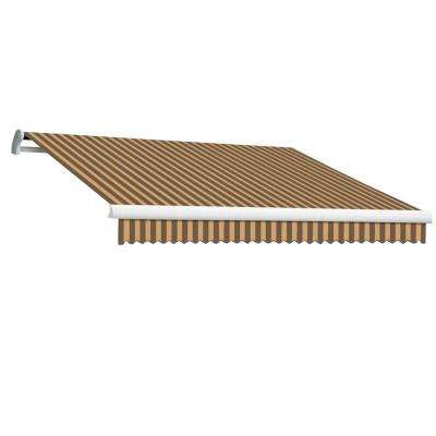 12 ft. MAUI EX Model Left Motor Retractable Awning (120 in. Projection) in Brown and Tan Stripe