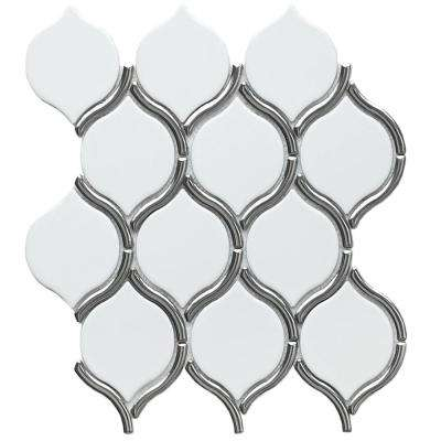 Divine Poseidon Glossy 10.47 in. x 11.73 in. x 8mm Ceramic Mesh-Mounted Mosaic Tile